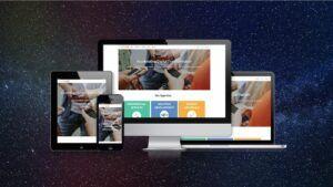 Phone, tablet, desktop and laptop screens of mobileLIVE website