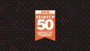 2016 Startup 50 Canada's Top New Growth Companies award logo