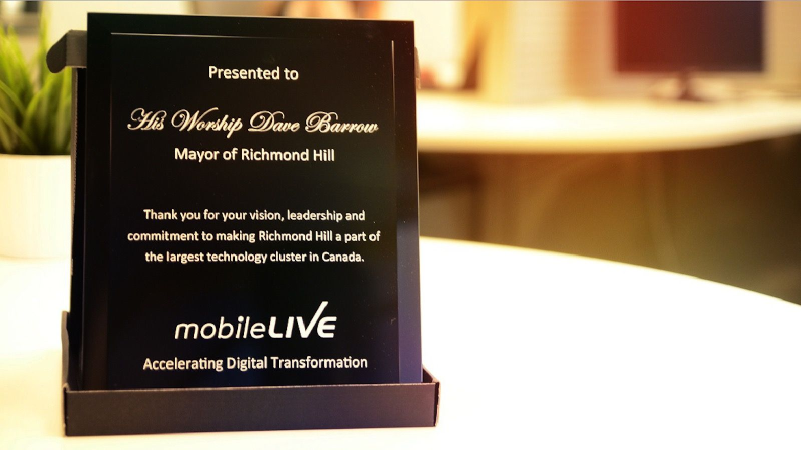 plaque of recognition from the Mayor of Richmond Hill