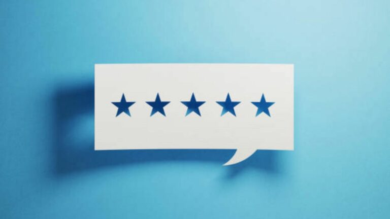 paper cutout of speech bubble what contains 5 stars
