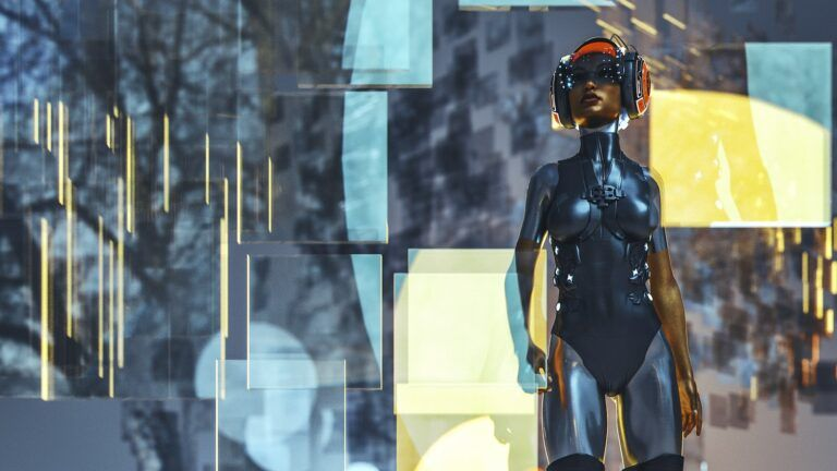 Futuristic cyborg woman