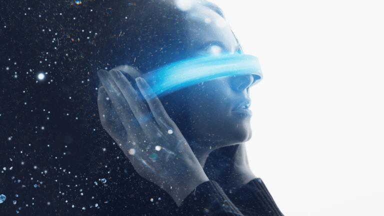 A woman using a futuristic VR device
