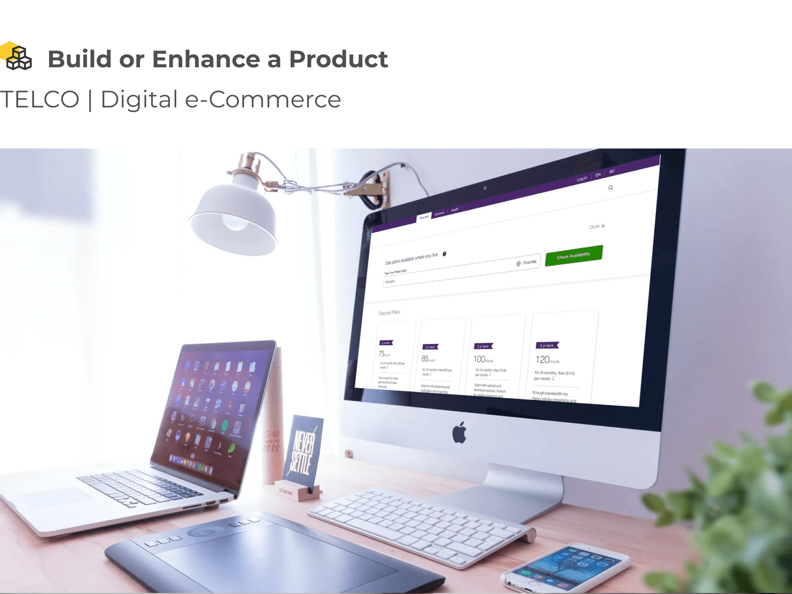 A desktop interface for a telecommunication digital eCommerce platform