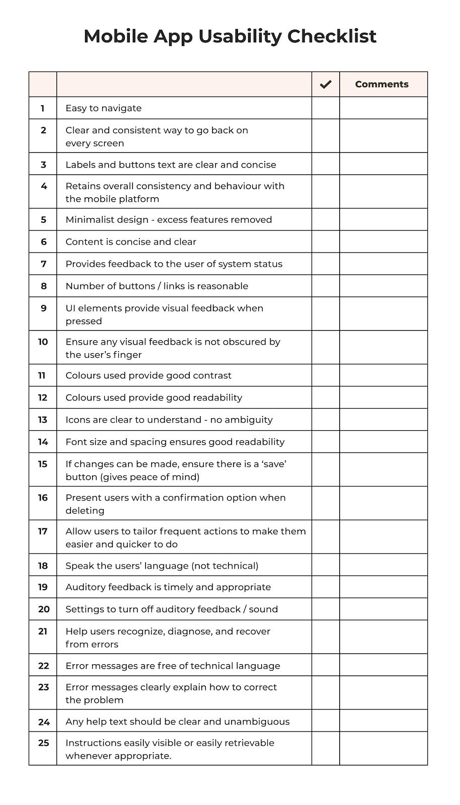 Mobile app usability checklist