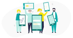 An illustration of people holding up various activated devices