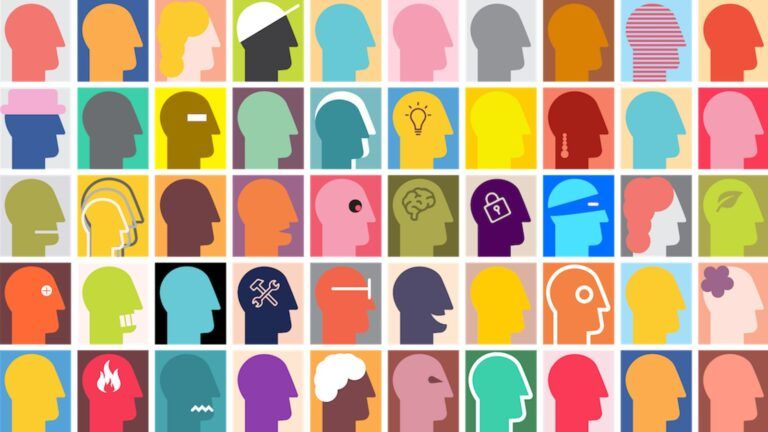 Many similar but different coloured and detailed head silhouettes