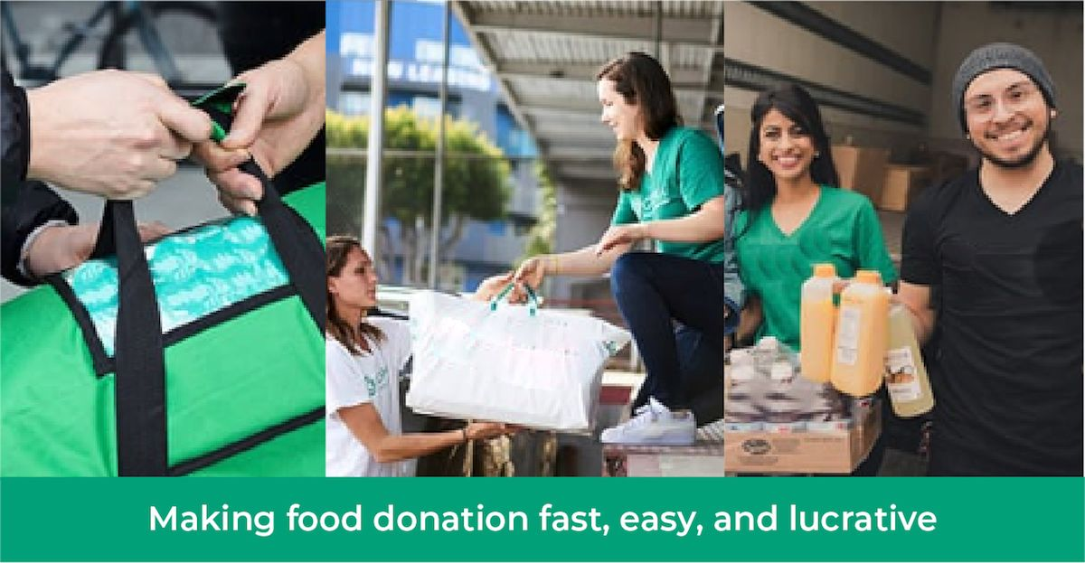 An image of workers delivering good with the tagline 'making food donation, fast, easy, and lucrative'