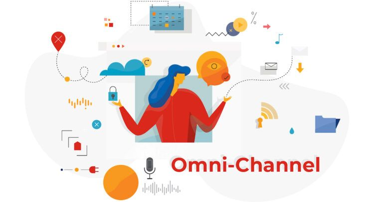 An illustration of a woman surrounded by icons with the title Omni-Channel