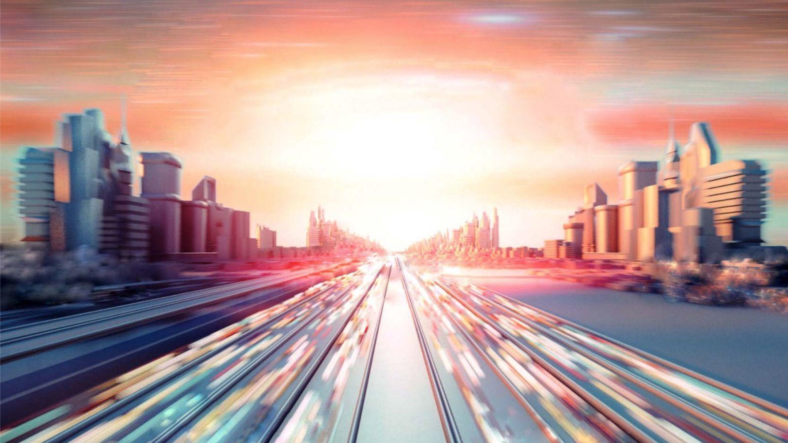 Illustration of futuristic city at sunset