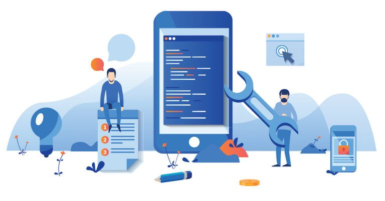 An illustration of various developers working on a mobile application
