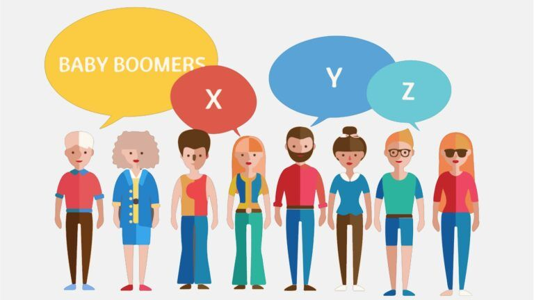 Illustrated characters of Baby Boomers and Generations X, Y, and Z