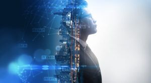 An illustration merging a businessman and a data environment