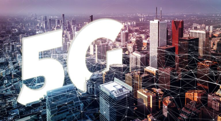 A downtown city landscape overlaid with network connections and a large white letters spelling 5G