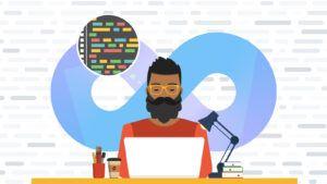An illustration of a developer sitting at a desk