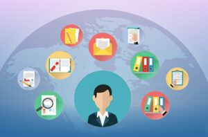 customer experience icons on top of globe illustration