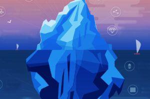 iceberg illustration with digital icons