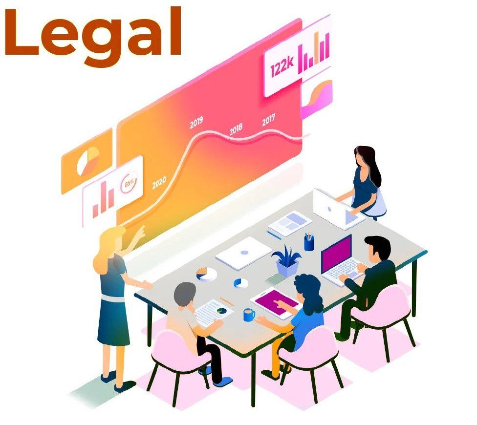 Illustration of a Legal Team discussing accessibility on a table
