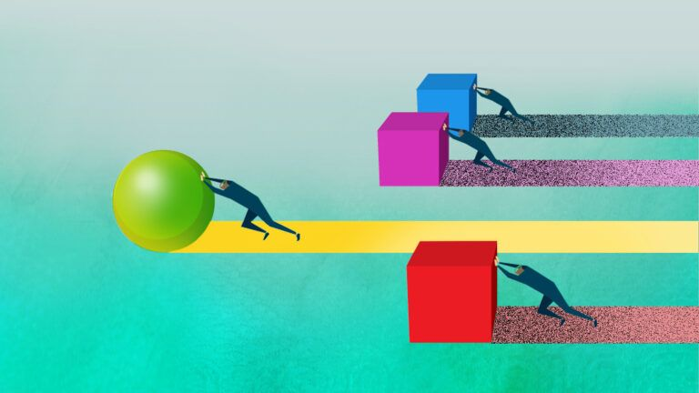 An illustration of one person pushing a ball ahead of three others pushing cubes
