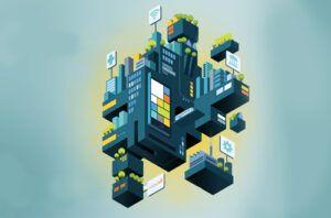 floating futuristic block city illustration