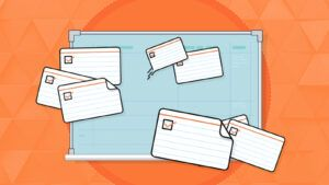 An illustration of a project planning board and cue cards